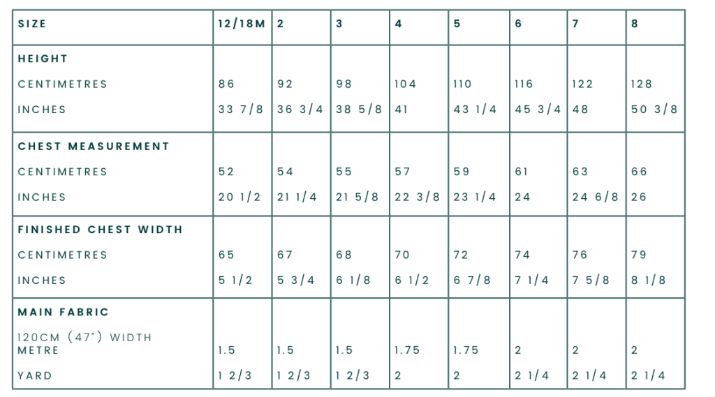 Bellbird Dress Measurement Chart