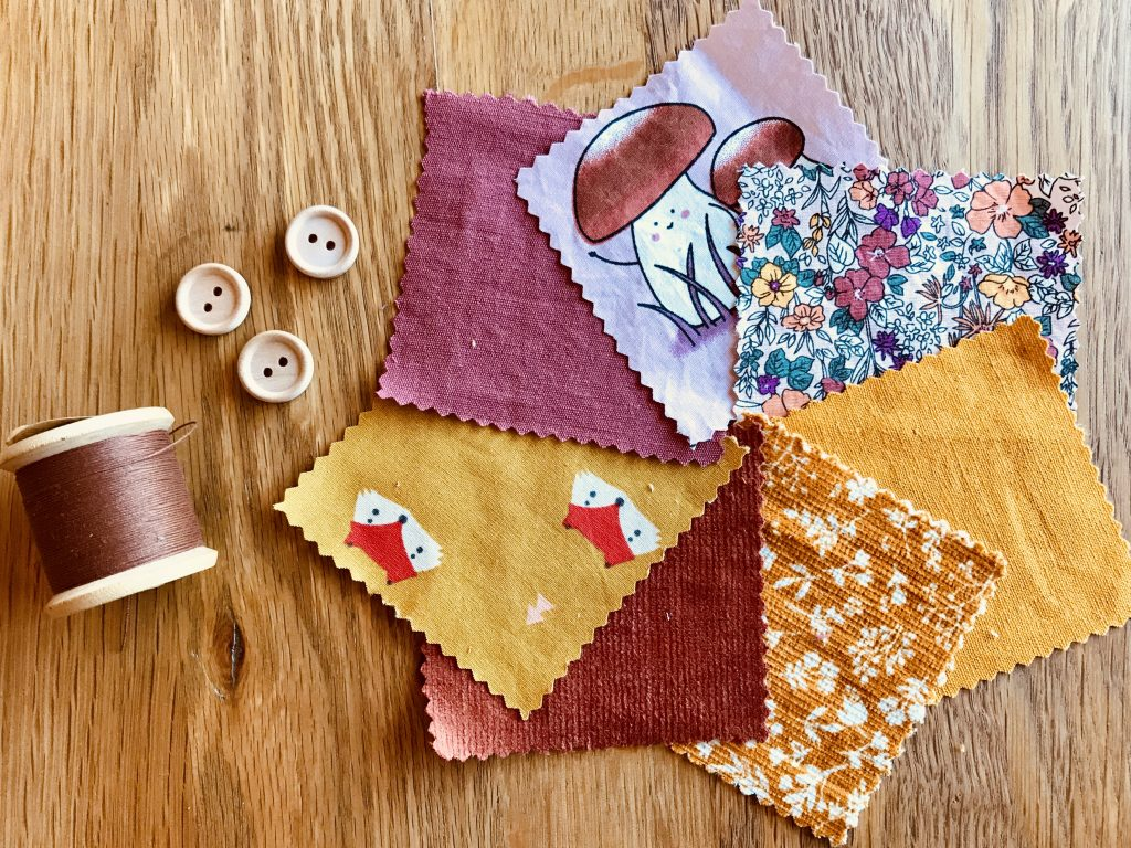 Autumn Fabric Colours, thread and buttons
