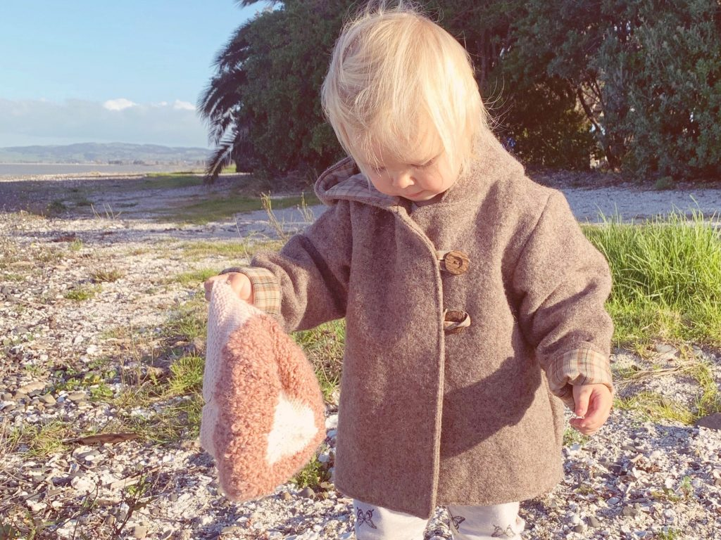 Awhi Coat sewing pattern with up cycle woollen blanket