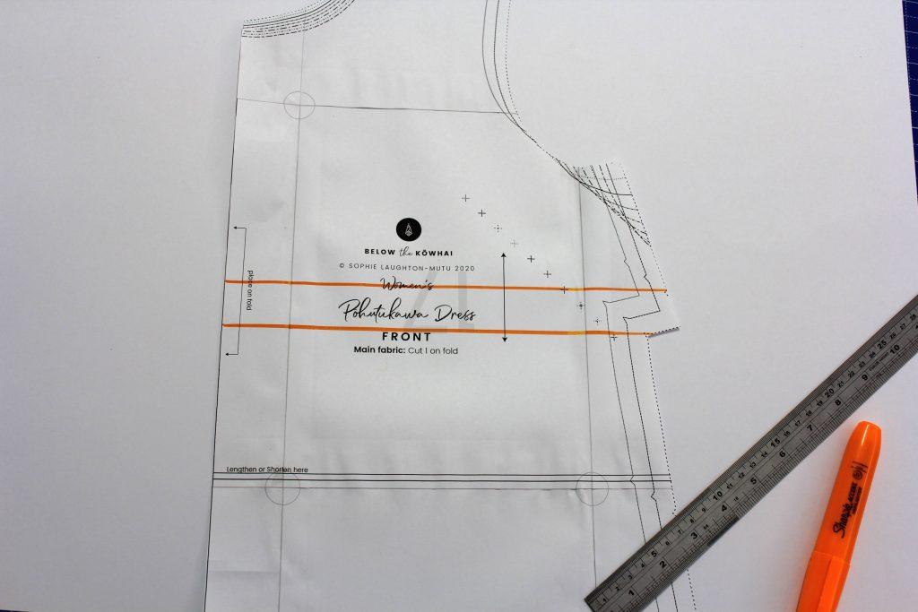 Pohutukawa Dress pattern piece