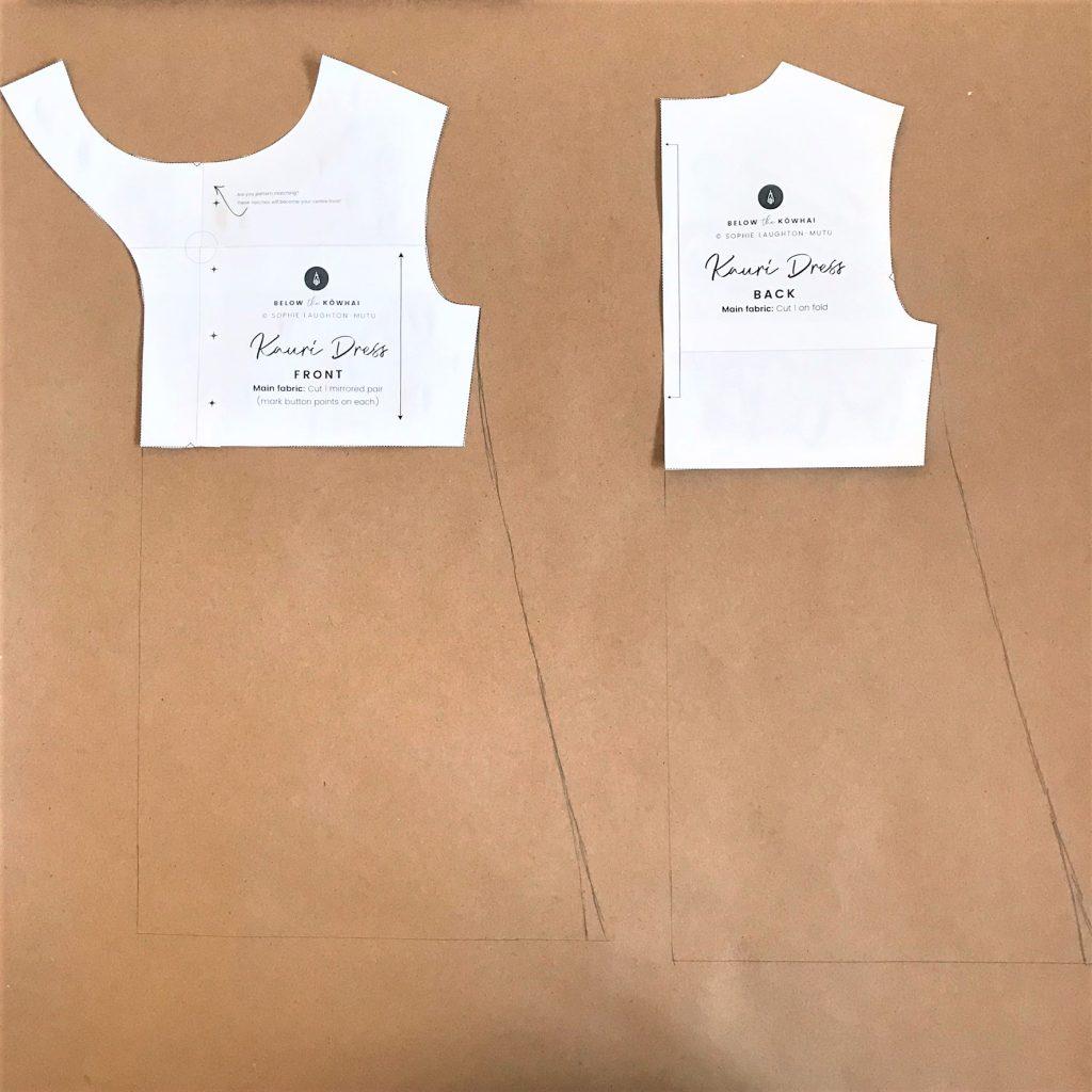 A-line Kauri Dress pattern pieces