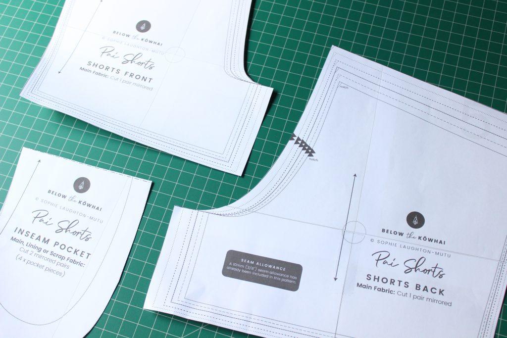 Pai Shorts pattern pieces