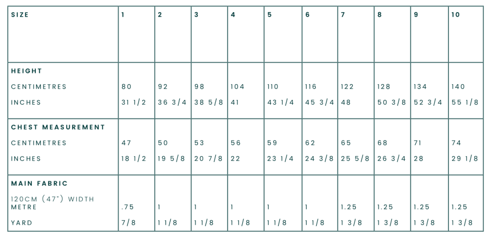 Korora Dress Measurement Chart