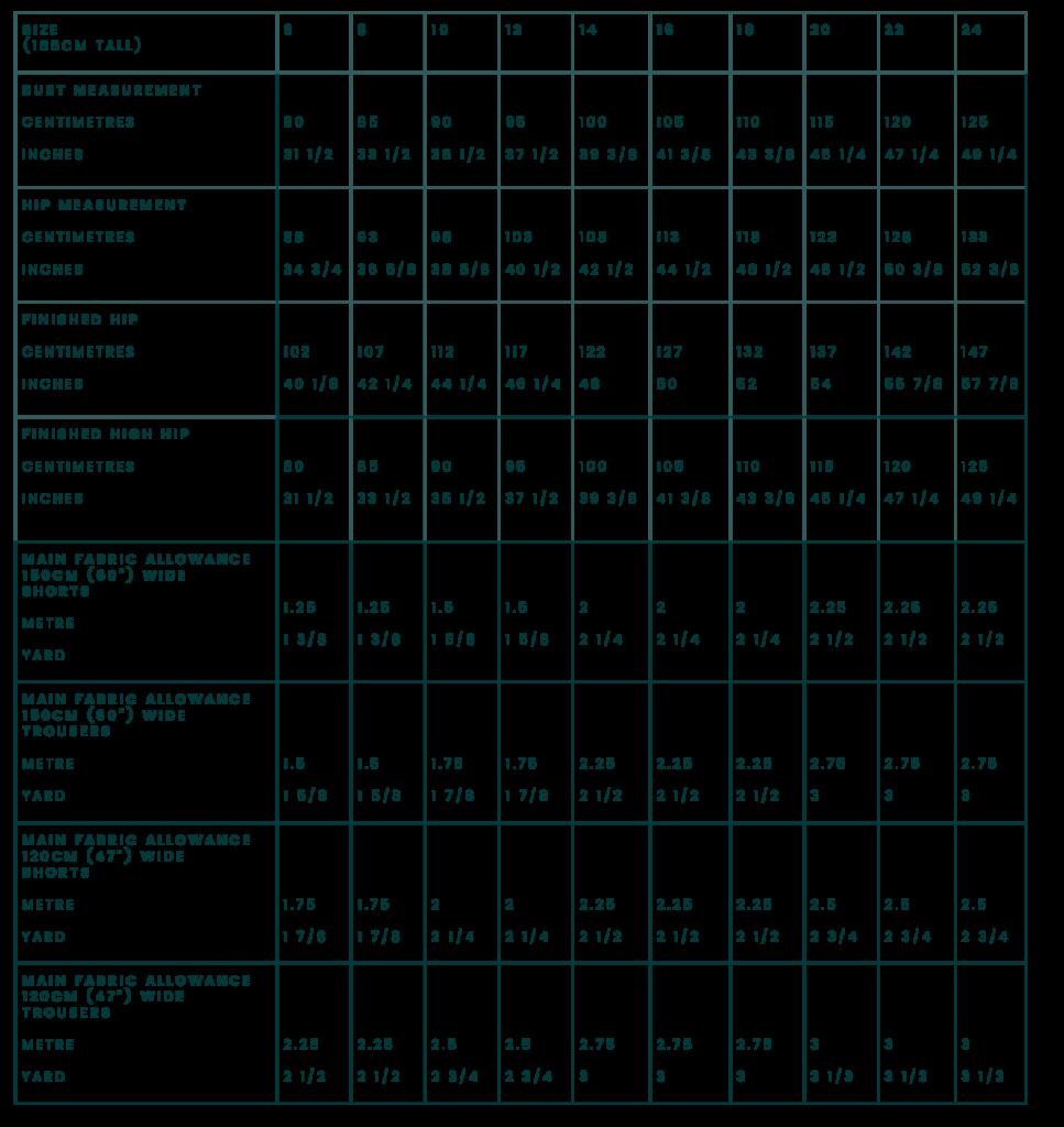 Adult Tipa Dungarees measurement chart