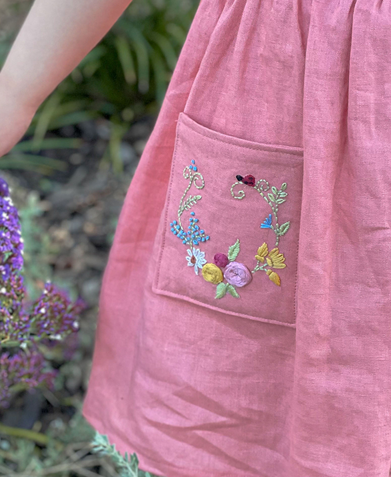 Spring Embroidery Pocket sewing pattern by Below the Kowhai